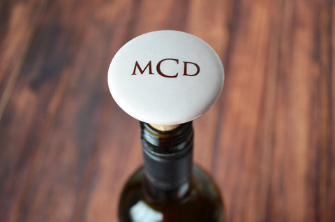Unique Bridesmaid or Hostess Gift - Monogrammed Wine Stopper - Comes with a Gift Bag