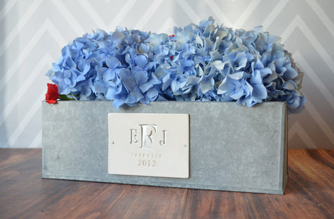 Wedding Gift - Medium Monogrammed Rectangular Zinc Planter - PERSONALIZED with Monogram, Name and Date