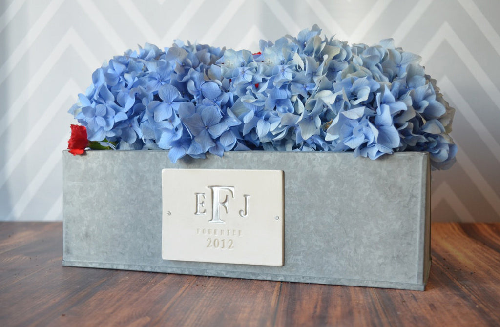 Wedding Gift - Large Monogrammed Rectangular Zinc Planter - PERSONALIZED with Monogram, Name and Date