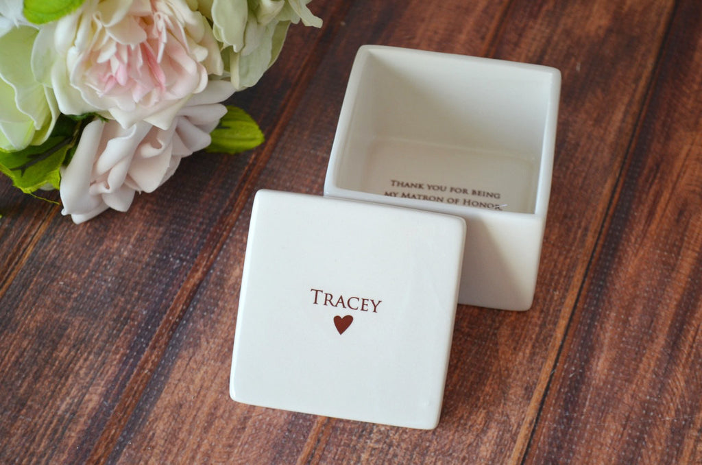 Matron of Honor Gift or Maid of Honor Gift - Deep Square Keepsake Box - With Gift Box