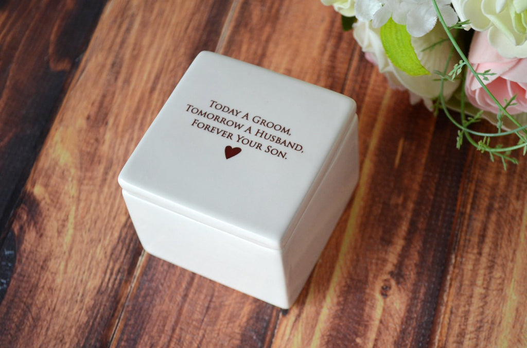 Mother of the Groom Gift - SHIPS FAST - Deep Square Keepsake Box - Today a Groom, Tomorrow a Husband, Forever Your Son