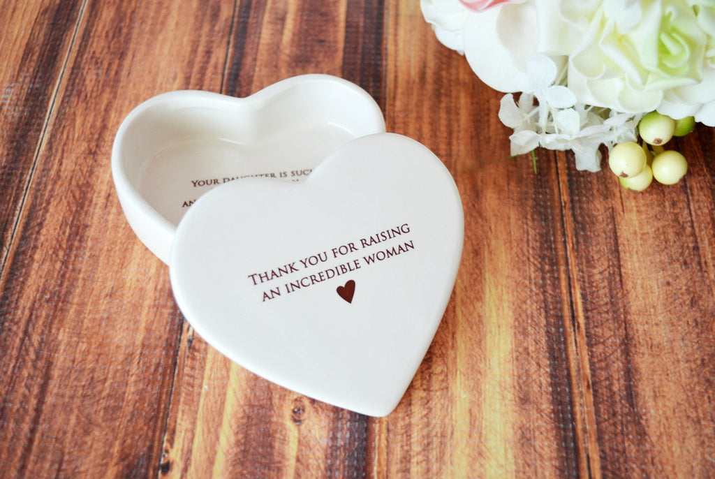 Mother of the Bride Gift - Heart Keepsake Box - Add Custom Text - Thank You for Raising an Incredible Woman - With Gift Box