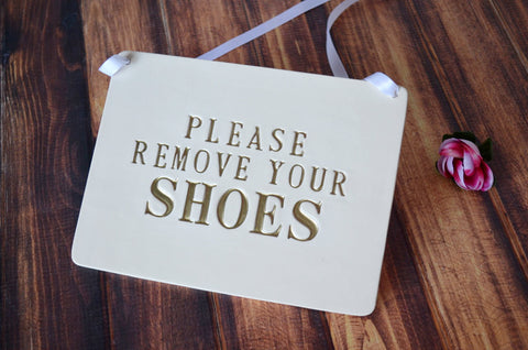Please Remove Your Shoes Sign - Handmade Ceramic Sign, Available in Different Colors