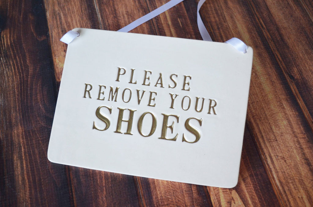 Please Remove Your Shoes Sign - SHIPS FAST - Handmade Ceramic Sign, Available in Different Colors