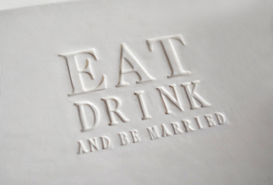 Eat Drink and Be Married Guestbook Platter or Wedding Gift - Gift boxed