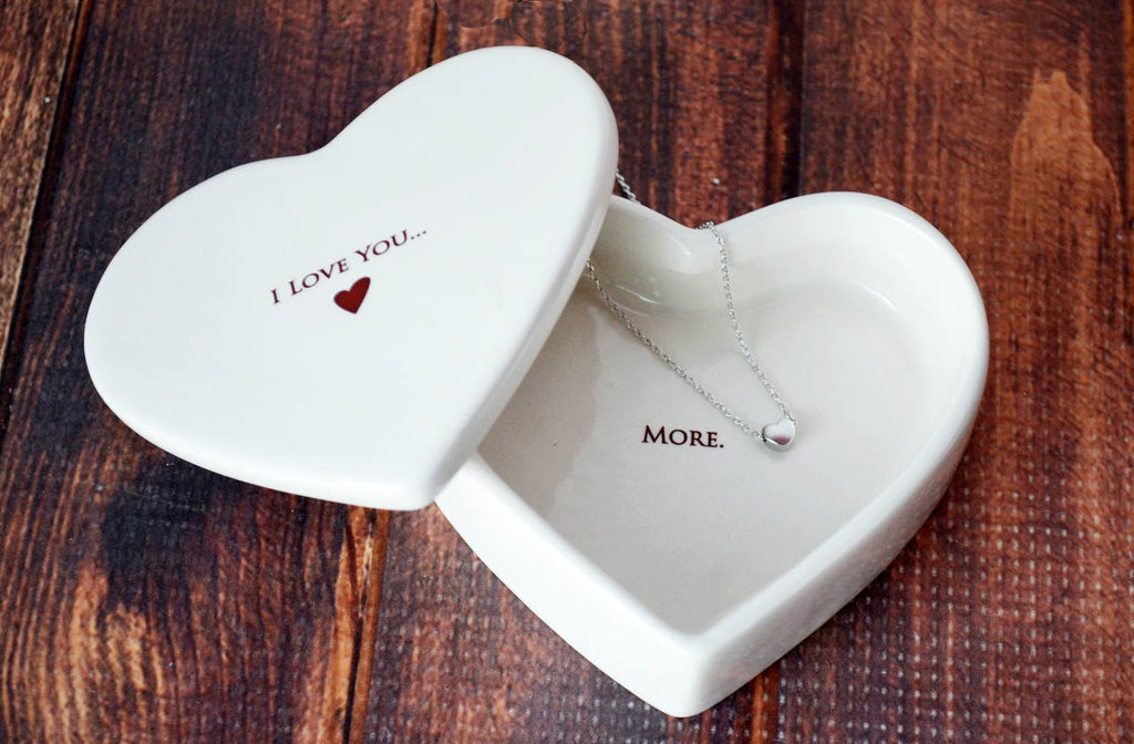 Valentine's Gift Set - I Love You More - SHIPS FAST - Heart Keepsake Box with Heart Necklace