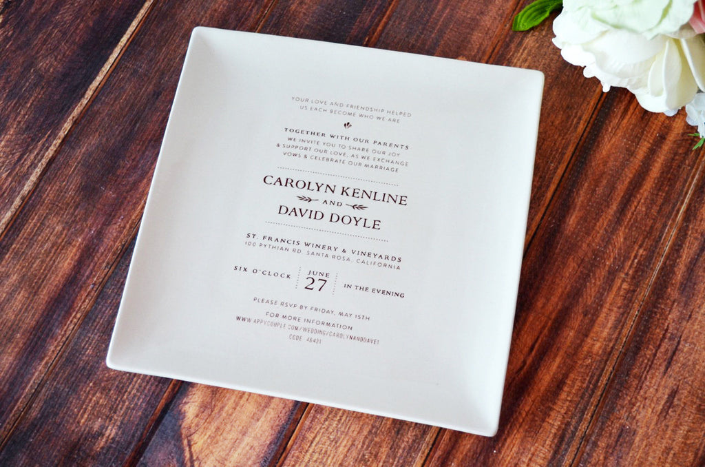 Personalized Plate with Wedding Invitation - Wedding Gift, Wedding Memento -Gift Boxed