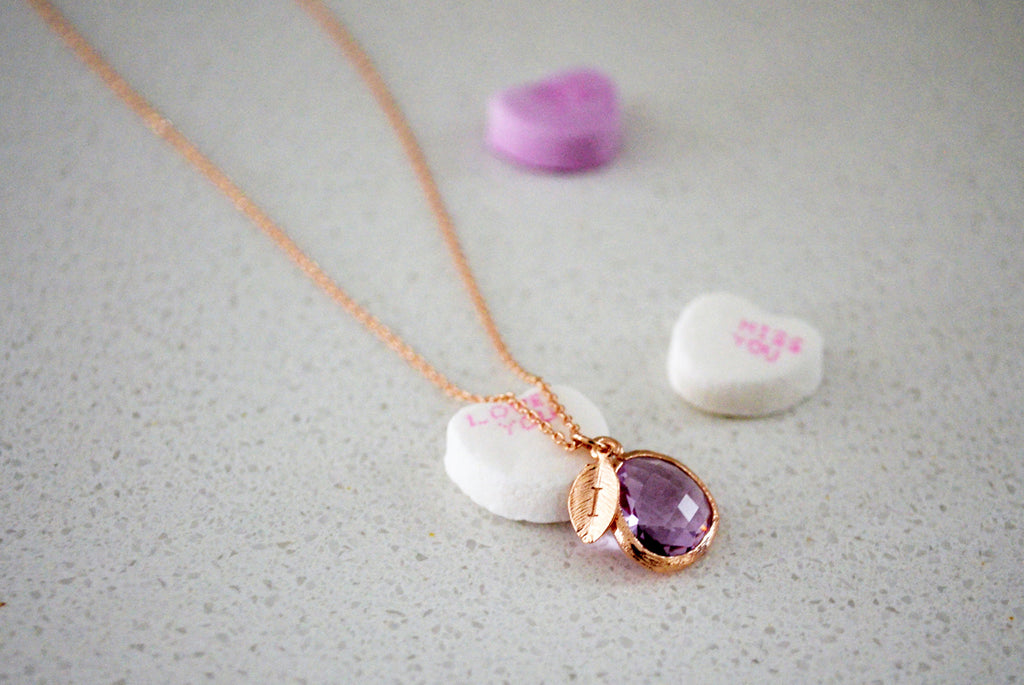 Lilac Stone Necklace - February Birthstone Necklace, Aquarius Necklace, Custom Initial Necklace