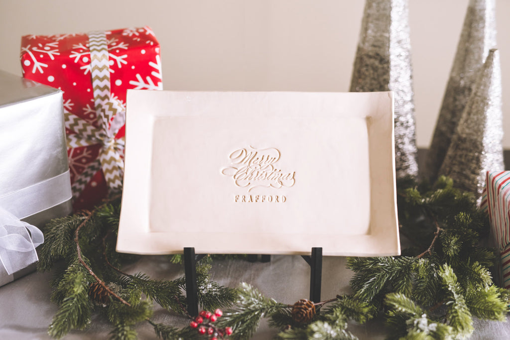 Christmas Gift - Merry Christmas Personalized Platter with Name - Gift boxed