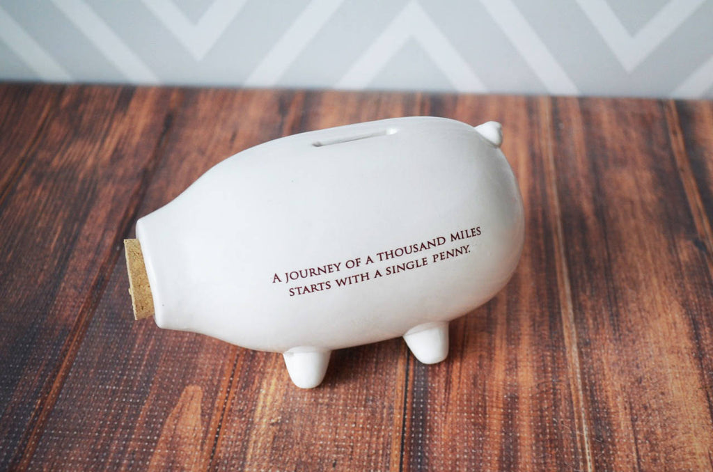 Baptism Gift, Baby Gift or First Communion Gift - Personalized Gift - Modern Piggy Bank - With Gift Box