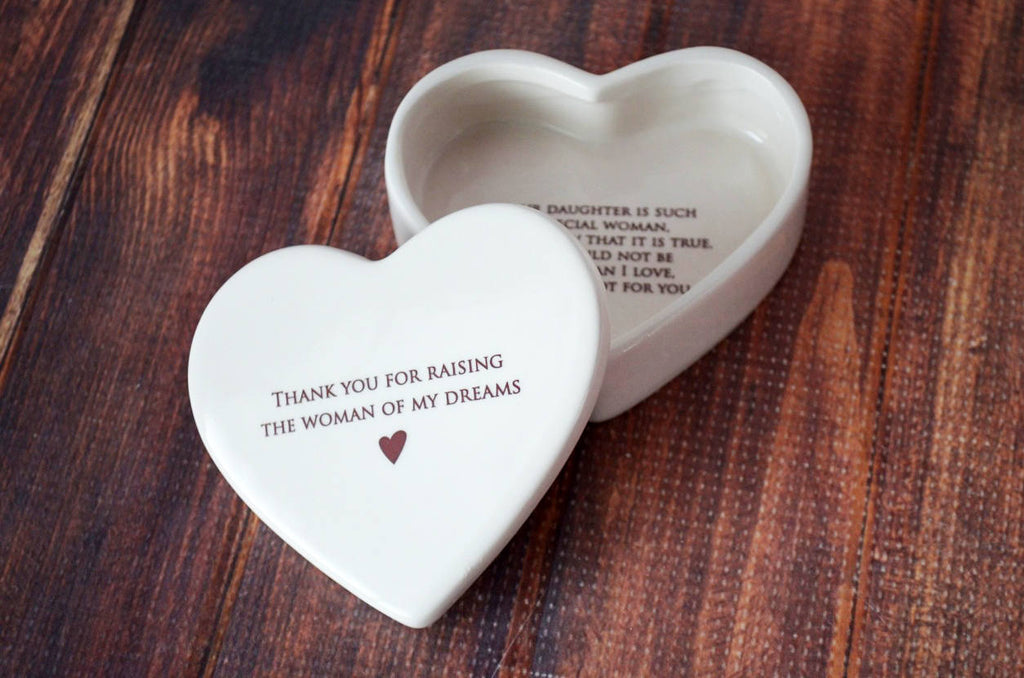 Mother of the Bride Gift - Mom Wedding Gift - SHIPS FAST - Thank You for Raising the Woman of My Dreams - Heart Keepsake Box -With Gift Box