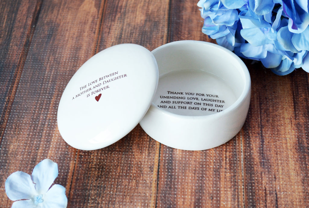 Unique Mother of the Bride Gift -SHIPS FAST - The Love Between a Mother and Daughter is Forever - Keepsake Box - With Gift Box