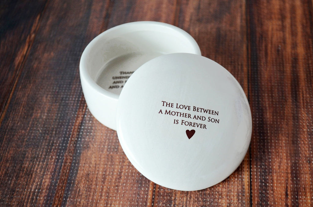 The Love Between a Mother and Son is Forever - Round Keepsake Box with Custom Text