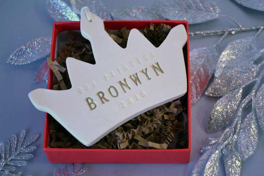 Personalized Baby Girl's First Christmas Ornament - Our Princess - Gift Boxed