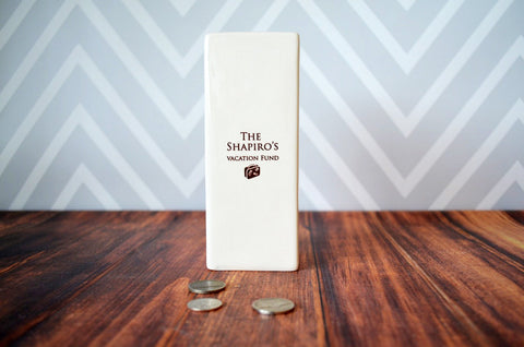 Personalized Modern Bank - Unique Family Gift, Children's Gift or Housewarming Gift - With a Gift Box