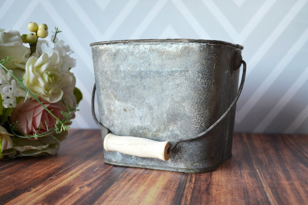 Personalized Bucket - Planter or Wedding Cards Bucket - Large size - Antique grey color