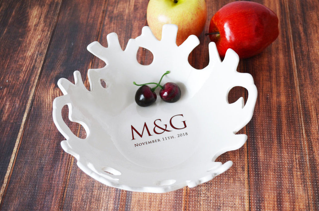 Wedding Gift or Anniversary Gift - Personalized Ceramic Coral Bowl, Fruit Bowl - With Initials and Wedding Date