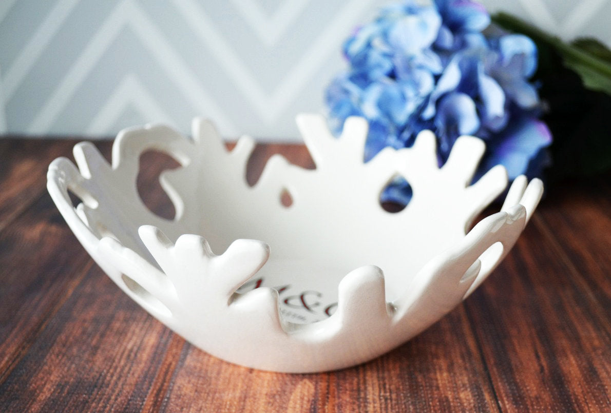 Wedding Gift or Anniversary Gift - Personalized Ceramic Coral Bowl ...
