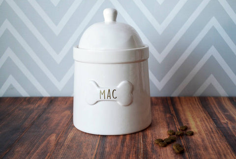 Large Dog Treat Jar, Dog Gift - Personalized with Name in Gold or Silver
