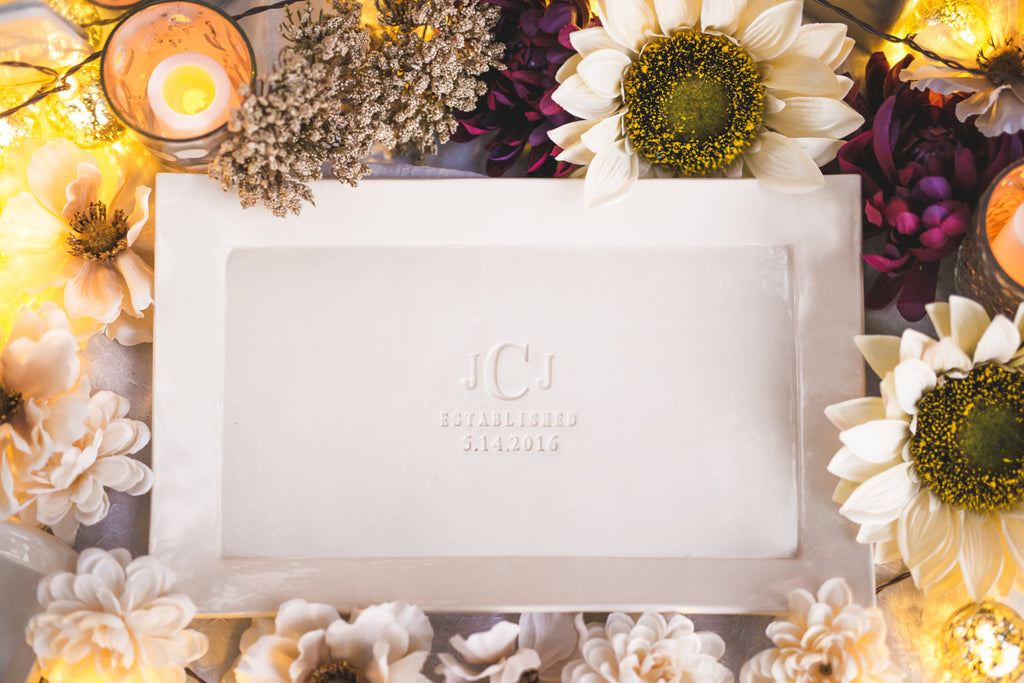 Wedding Gift, Engagement Gift or Signature Guestbook Platter - Rectangular Platter Personaized with Monogram and Date