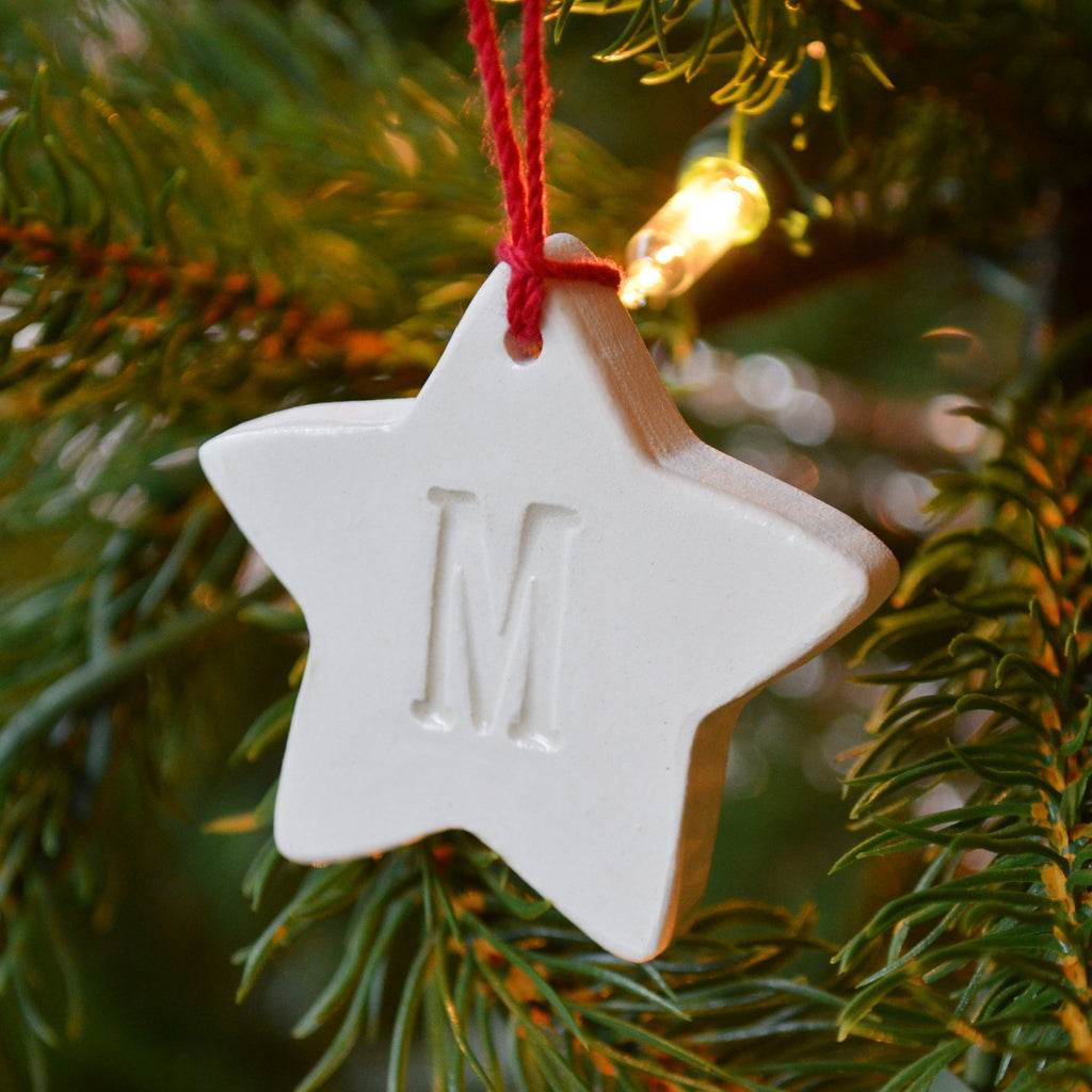 Star Ornament, Small Star Initial Christmas Ornament, Letter Ornament - Gift Boxed and Ready To Give