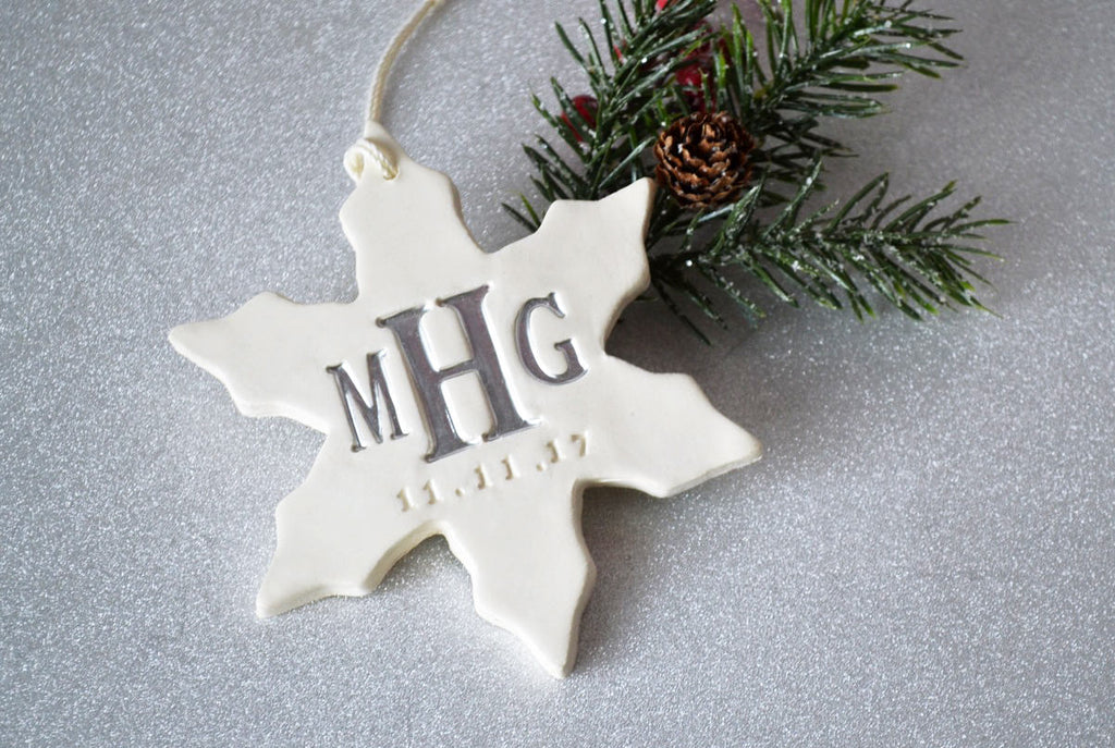 Monogrammed Christmas Ornament, Personalized Christmas Ornament, Large Snowflake Ornament - Gift boxed and Ready to Give