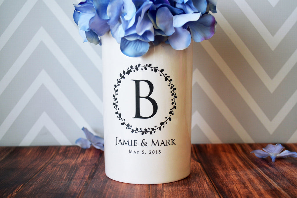 Anniversary Gift, Wedding Gift or Engagement Gift - Use as a Personalized Vase or Utensil Holder - Wreath Design