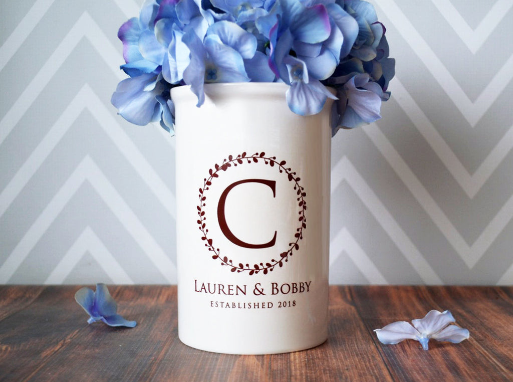 Wedding Gift, Anniversary Gift or Engagement Gift - Use as a Personalized Vase or Utensil Holder - Wreath Design