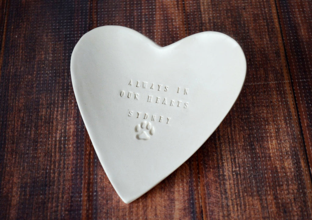 Dog Sympathy Gift, Pet Memorial Gift - Always in our Hearts - With Pet's Name - Heart Shaped Bowl