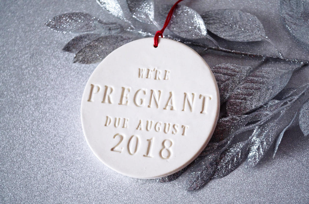 We're Pregnant Ornament, Pregnancy Announcement, Pregnancy Announcement Grandparents - Christmas Gift - With Month and Year - Gift Boxed