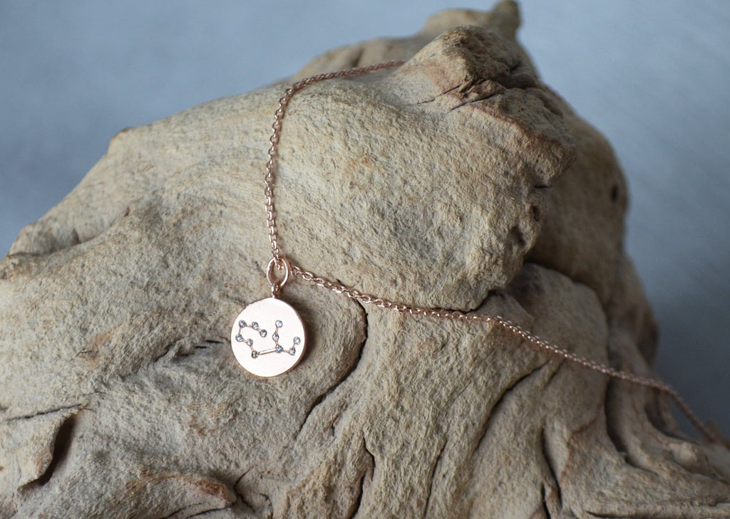 Zodiac Jewelry, Rose gold Zodiac Necklace, Constellation Necklace, Astrology Necklace, Horoscope Necklace, Gift for Her, Gemini Necklace