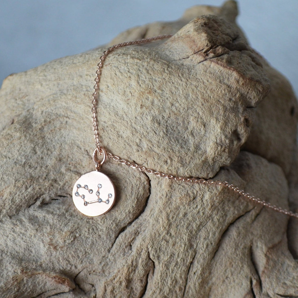Zodiac Jewelry, Rose gold Zodiac Necklace, Constellation Necklace, Astrology Necklace, Gemini Necklace