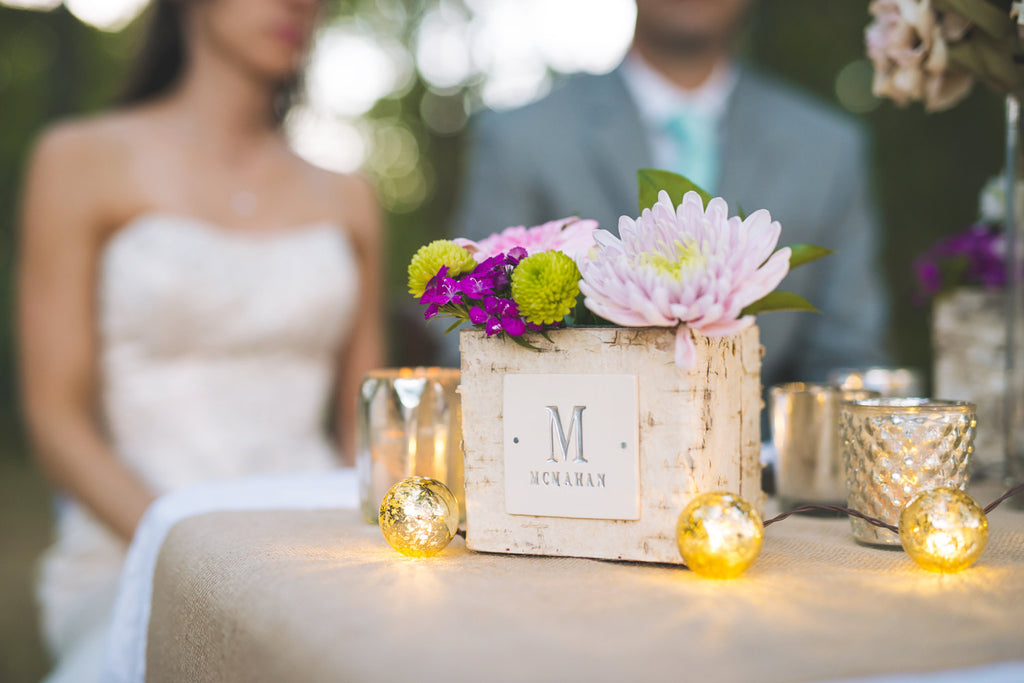 PERSONALIZED Wedding Gift - Small Square Birch Vase