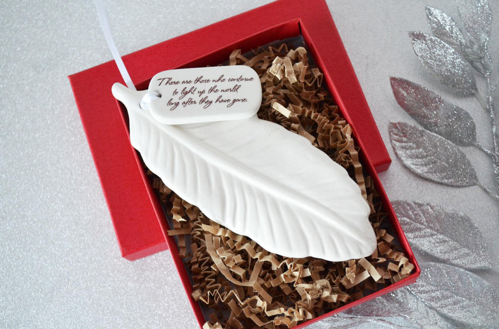 Sympathy Feather Ornament- SHIPS FAST - There are those who continue to light up the world...