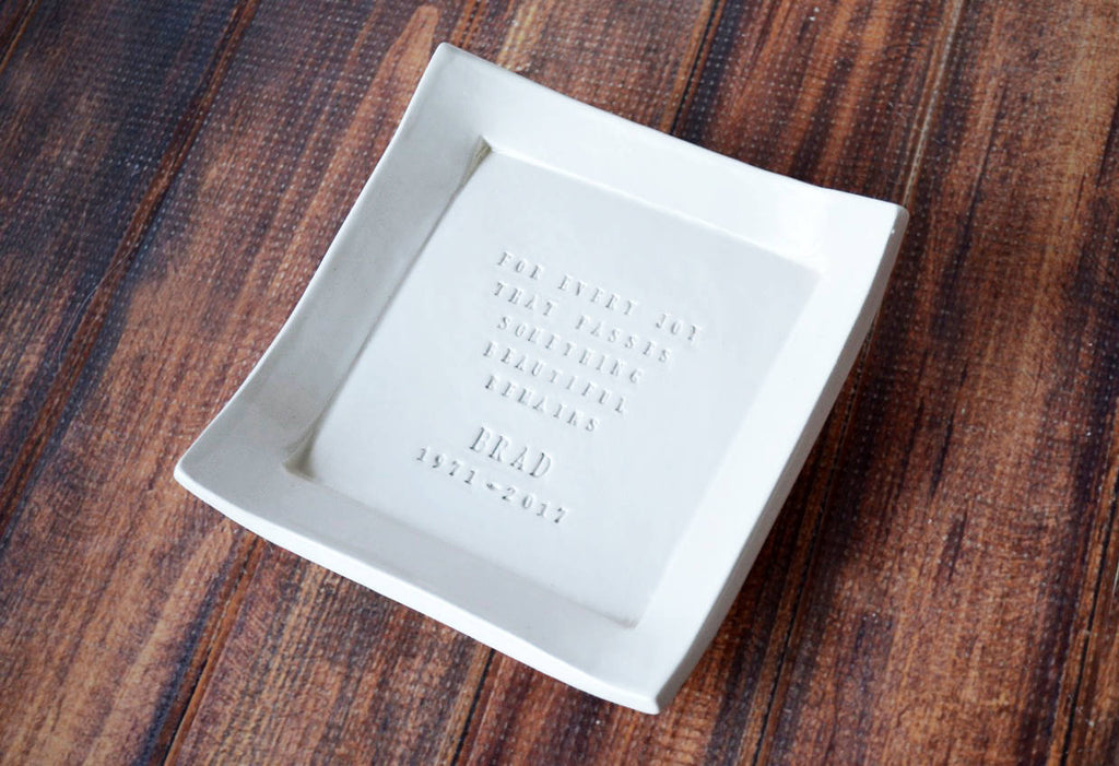 Personalized Sympathy Gift - Square Tray - For Every Joy That Passes Something Beautiful Remains - With Gift Box