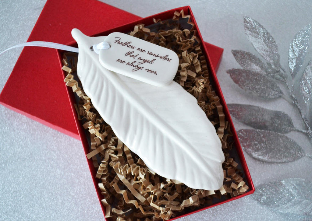 Sympathy Ornament, Sympathy Gift, Sympathy Feather Ornament, Feather Sympathy Gift - Add Custom Text - Feathers Are Reminders That Angels Are Always Near