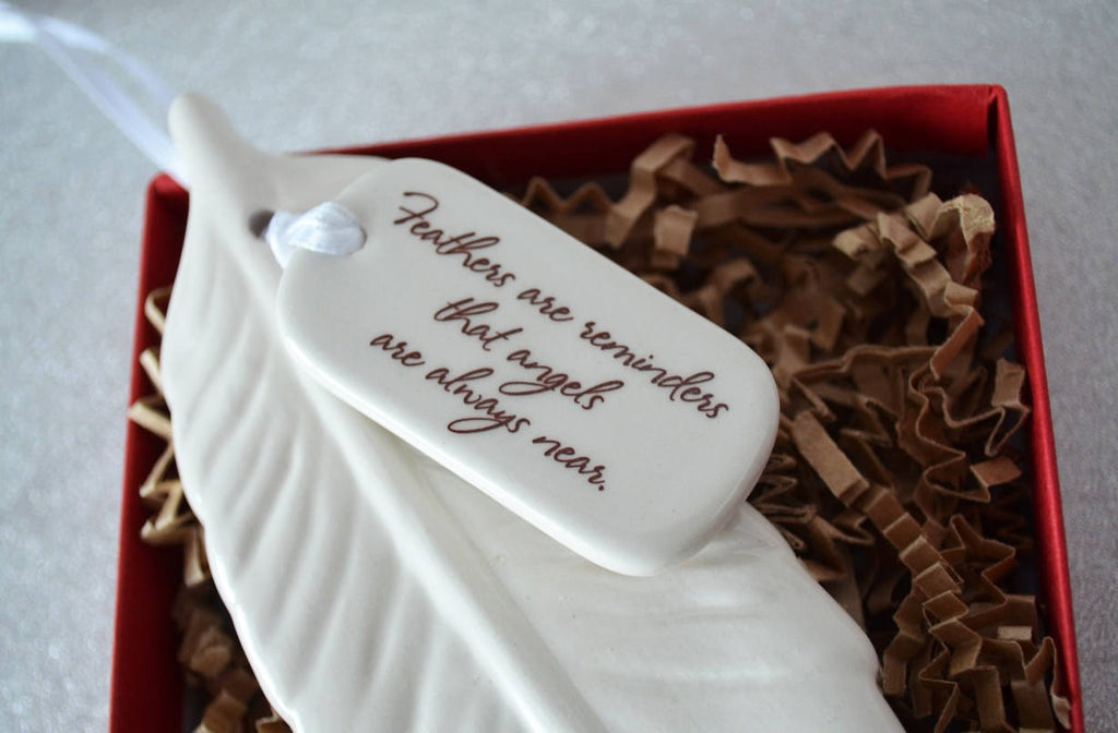 Sympathy Feather Ornament - Add Custom Text - Feathers Are Reminders That Angels Are Always Near