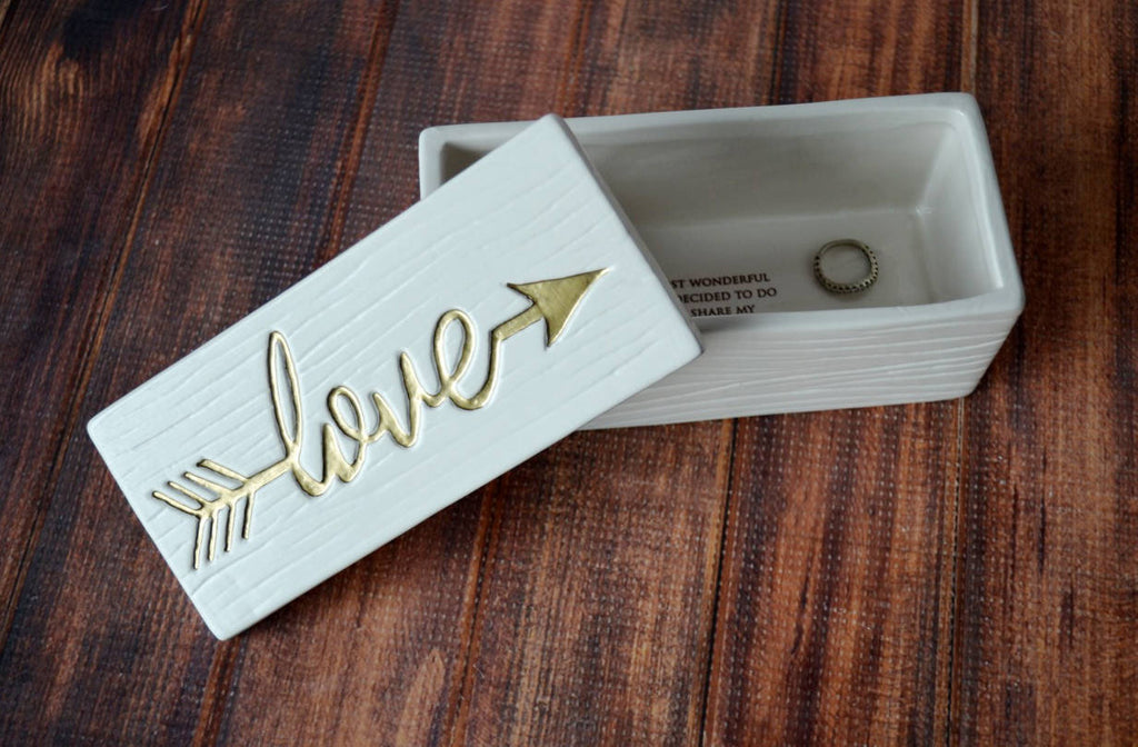 Love Box - Painted in Gold or Silver - Add Custom Text - Ceramic Wood Grain Keepsake Box