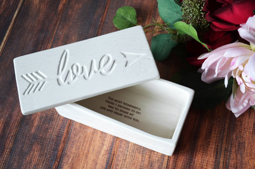 Valentine's Day Gift, Valentine's Gift, Gift for Her - Love Box - Painted in Gold or Silver - Add Custom Text - Ceramic Wood Grain Keepsake Box