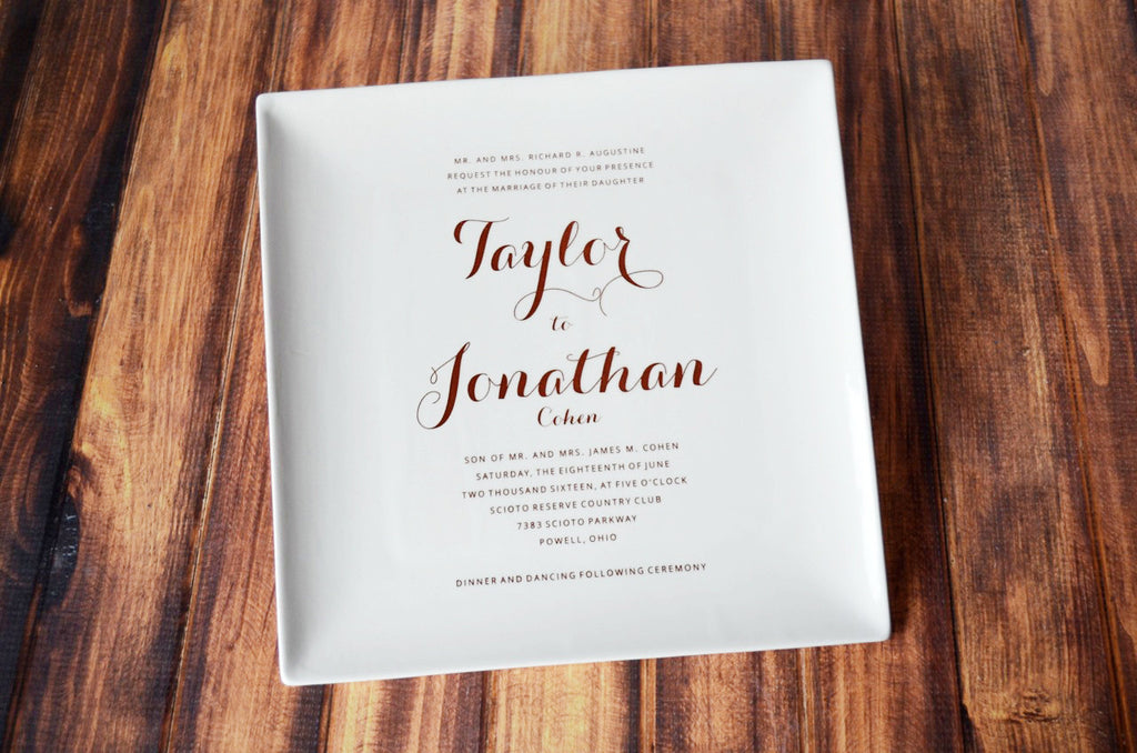Wedding Gift, Marriage Gift, Couples Gift, Bridal Shower Gift - Personalized Wedding Invitation Plate - Large Plate - 10 x 10 - Gift Boxed