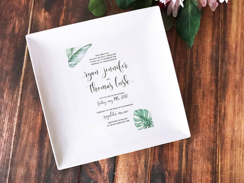 Wedding Gift, Marriage Gift, Couples Gift, Bridal Shower Gift - Personalized Wedding Invitation Large Plate in Color - 10 x 10 - Gift Boxed