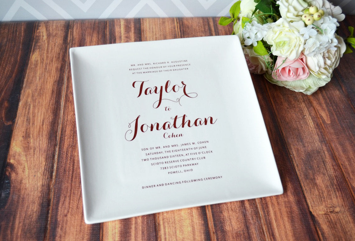 Personalized Wedding Invitations.Wedding Gift Marriage Gift Couples Gift Bridal Shower Gift Personalized Wedding Invitation Plate Large Plate 10 X 10 Gift Boxed