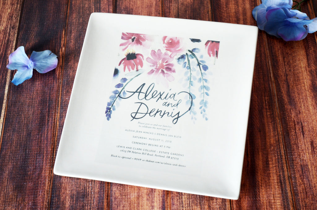 Personalized Plate with Wedding Invitation in Color - Wedding Gift, Wedding Present -Gift Boxed