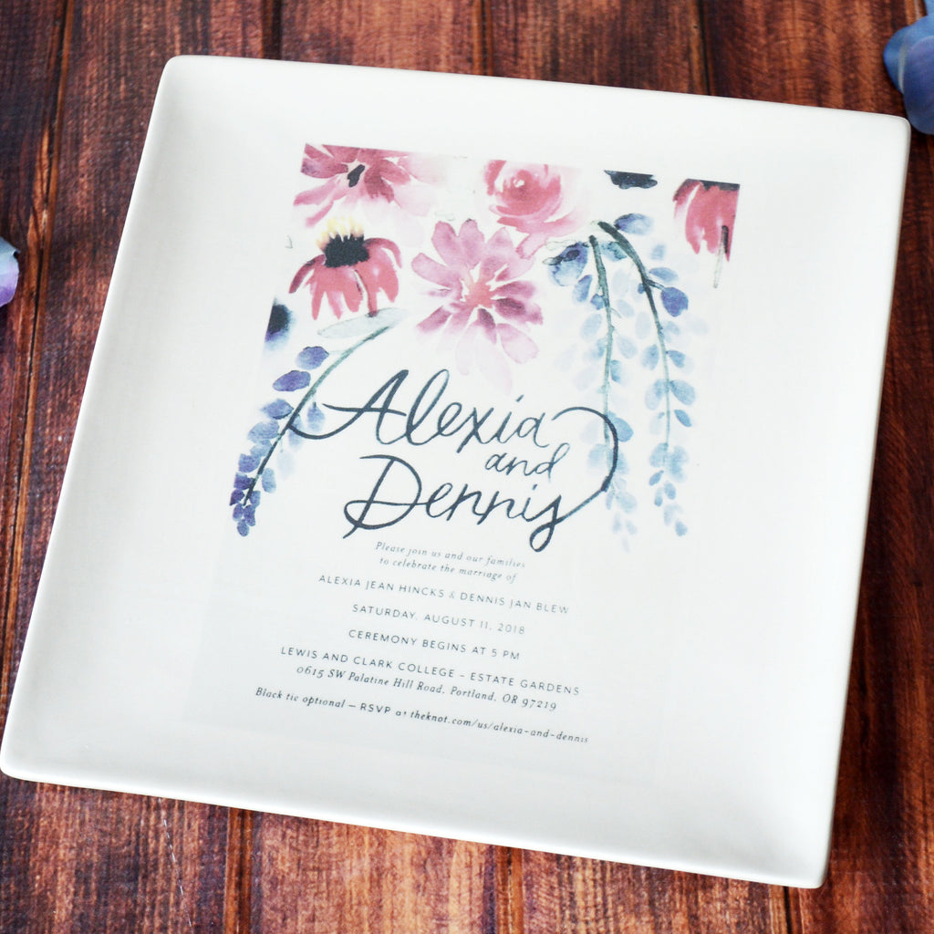 Wedding Gift, Wedding Present, Wedding Memento, Marriage Gift - Personalized Plate with Wedding Invitation in Color - Gift Boxed