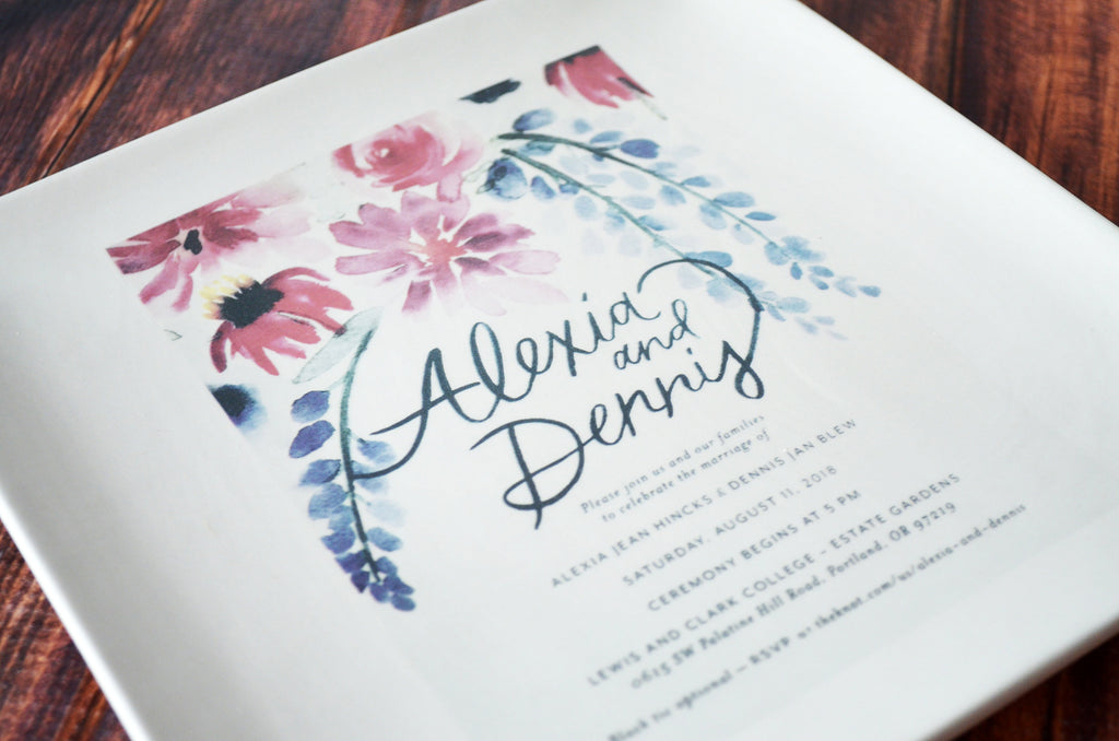 Personalized Plate with Wedding Invitation in Color - Wedding Gift, Wedding Present