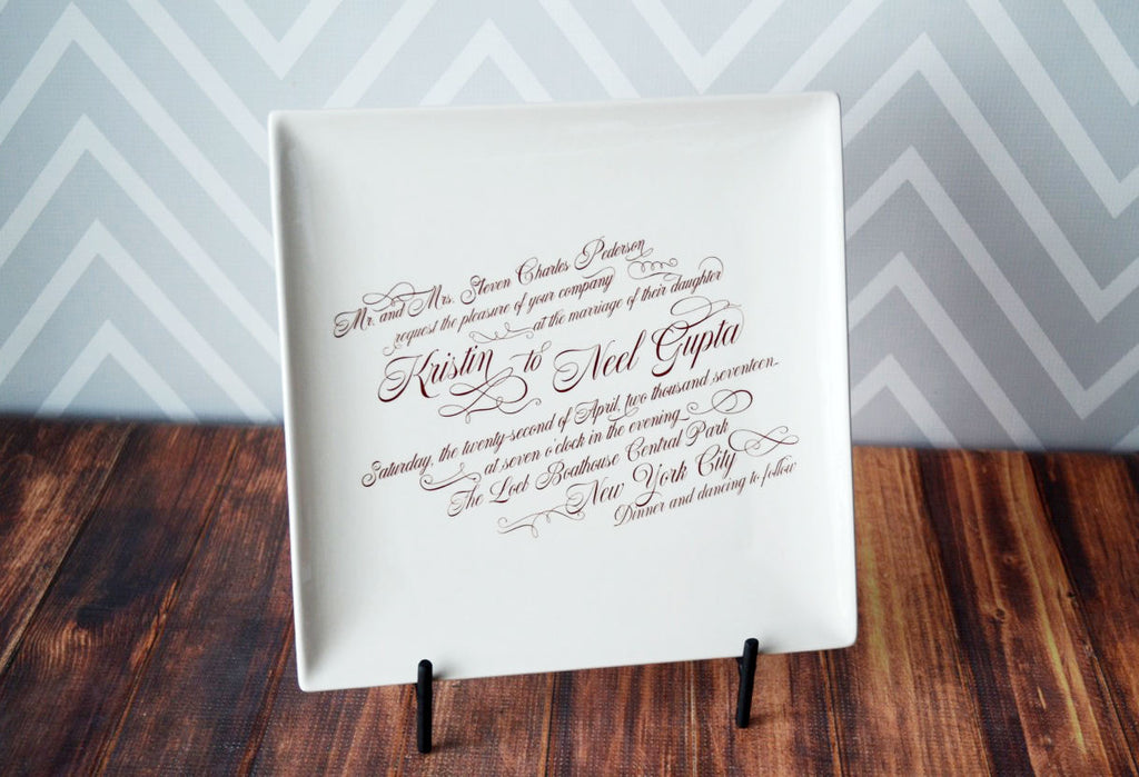 Personalized Large Wedding Invitation Plate - Large Wedding Invitation Plate with Easel - 10 x 10