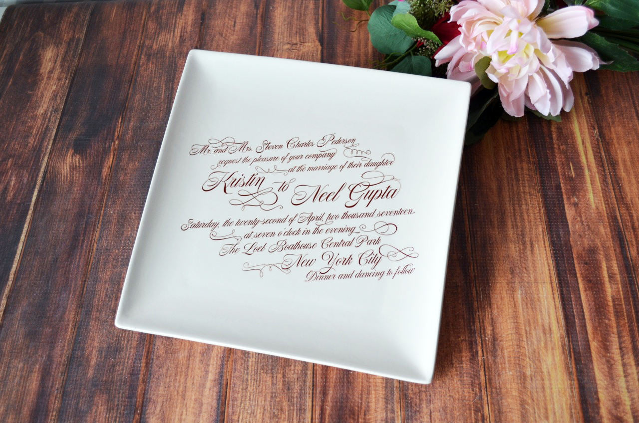 Personalized Wedding Invitations.Personalized Wedding Gift Wedding Invitation Gift Large Wedding Invitation Plate With Easel 10 X 10 Gift Boxed