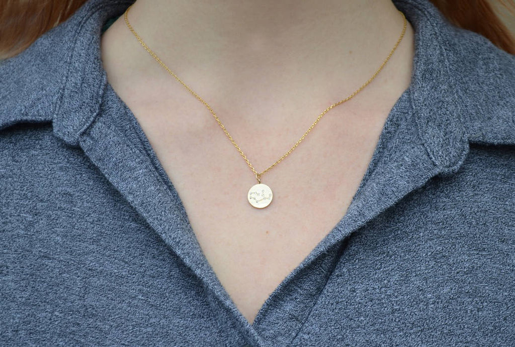 Zodiac Jewelry, Zodiac Necklace, Constellation Necklace, Astrology Necklace, Horoscope Necklace, Gift for Her, Gemini Necklace in Gold - Gift Boxed
