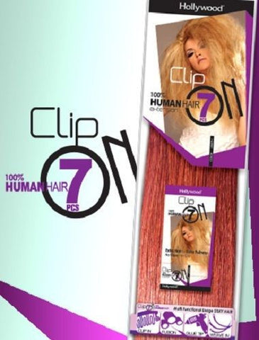 "Hollywood 100% Human Hair 7 pieces Clip On Extension 14"" - Wow Beauty Supply"