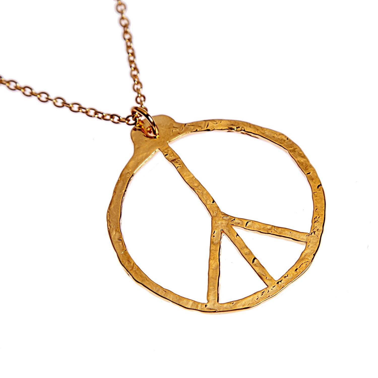 Peace symbol hand hammered delicate gold dipped pendant necklace peace symbol hand hammered delicate gold dipped pendant necklace on 18 rolo chain buycottarizona Gallery